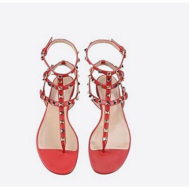 05959914 Chaussures Blanc Femme Sandales Printemps Noir Rivet Bourgogne Confort Microfibre zppgxdq