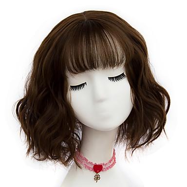 povoljno Perike i ekstenzije-Sintetičke perike Wavy Stil Bob frizura Capless Perika Ash Brown Bež Siva Sintentička kosa Žene Perika Kratko