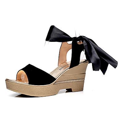 Mulheres Sapatos Sintético Verão Conforto Sandálias Salto Plataforma Peep Toe Preto / Vermelho / Verde