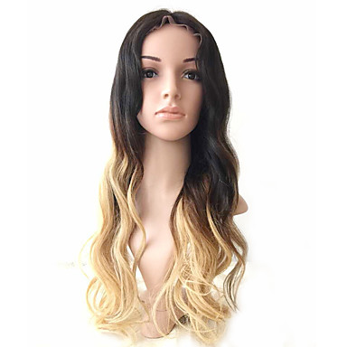 Human Hair Glueless Full Lace / Full Lace Wig Wavy Wig 130% Ombre Hair / Natural Hairline / African American Wig Women's Medium Length / Long Human Hair Lace Wig / 100% Hand Tied
