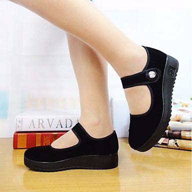 Naiset Kengät Canvas PU Kevät Comfort Tasapohjakengät varten Kausaliteetti Musta