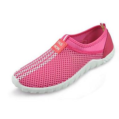 Mulheres Sapatos Tule Primavera Verão Conforto Tênis Caminhada Sem Salto Ponta Redonda para Casual Ao ar livre Roxo Vermelho