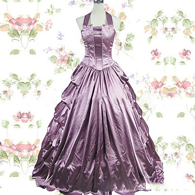 Vintage Gothic Victorian Medieval Costume Women's Dress Party Costume Masquerade Light Purple Vintage Cosplay Satin Cap Sleeve Floor Length Halloween Costumes