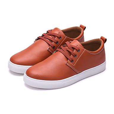Homens sapatos Couro Ecológico Primavera / Outono Conforto / Solados com Luzes Tênis Preto / Laranja / Azul