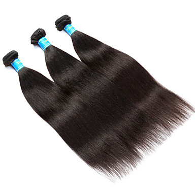 Echthaar Burmesischen Haar Menschenhaar spinnt Yaki-Stil Haarverlängerungen 3 Stück Schwarz