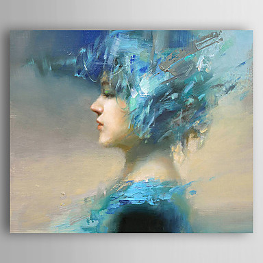 Oil Painting Hand Painted - People Abstract Canvas