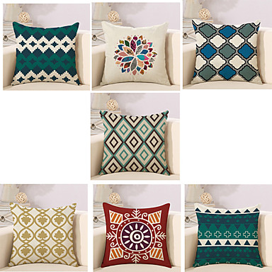7 pcs Cotton / Linen Pillow Cover / Pillow Case, Novelty / Classic / Fashion Vintage / Casual / Retro