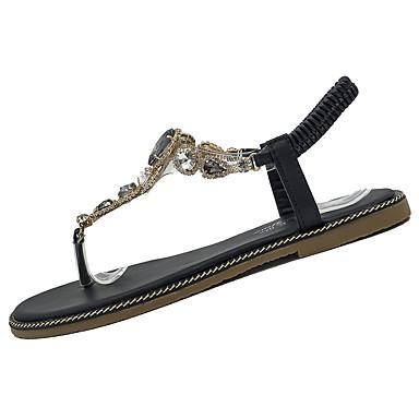 Mulheres Sapatos Couro Ecológico Verão Conforto Sandálias Sem Salto para Ao ar livre Preto Verde Tropa