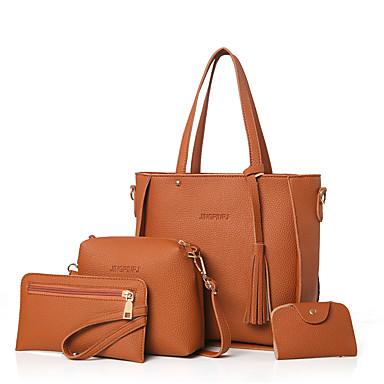 Women's Bags PU Bag Set Zipper Blushing Pink / Gray / Brown