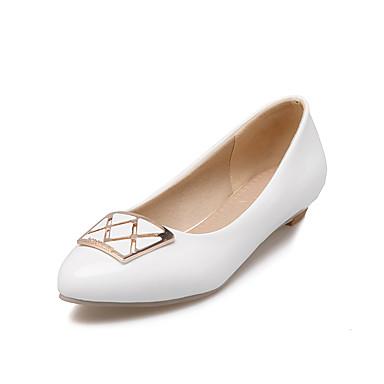 Mujer Zapatos Semicuero Primavera / Verano Tacón Bajo Blanco / Negro yVsToE96Or