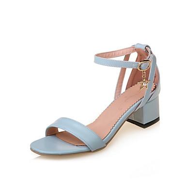 Naiset Sandaalit Comfort Gladiaattori Tekonahka Kesä Kausaliteetti Puku Comfort Gladiaattori Leveä korko Valkoinen Sininen Pinkki 2-2,75in
