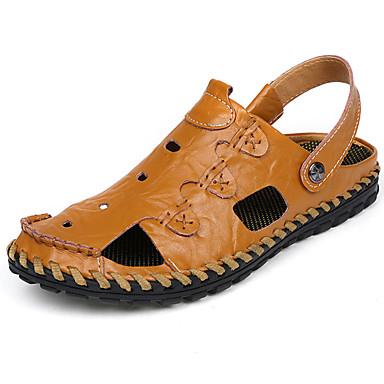 Homens sapatos Couro Ecológico Primavera Verão Conforto Sandálias Caminhada para Casual Preto Castanho Escuro Khaki