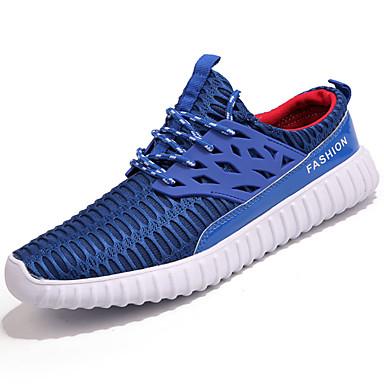 Homens sapatos Couro Ecológico Primavera Verão Tênis Corrida para Preto Cinzento Azul