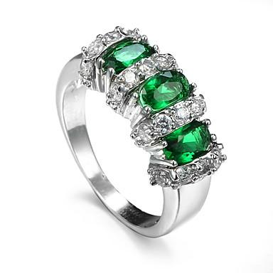 billige Motering-Dame Syntetisk Smaragd Ring Zirkonium Legering Unikt design Mote Euro-Amerikansk Motering Smykker Mørkegrønn Til Bryllup Spesiell Leilighet jubileum 6 / 7 / 8 / 9 / 10