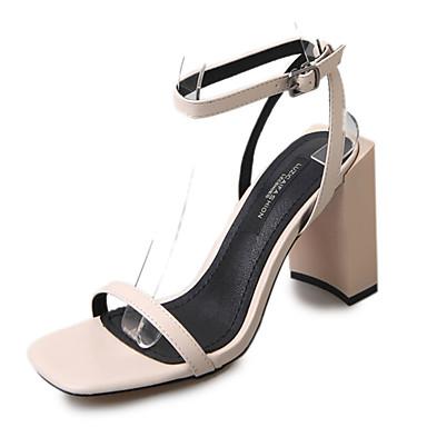 Naiset Sandaalit Kesä PU Soljilla Block Heel Musta Beesi Tumman ruskea 2-2,75in