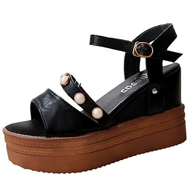Mulheres Sapatos Couro Ecológico Verão Conforto Sandálias Salto Plataforma para Ao ar livre Branco Preto