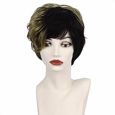 Cabelo Sintético perucas Ondulado Peruca Afro Americanas Cabelo Ombre Corte em Camadas Corte Pixie Com Franjas Peruca Natural Curto Preto