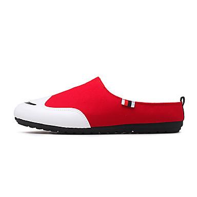 Miehet kengät Canvas Kesä Syksy Mokkasiinit Puukengät Käyttötarkoitus Kausaliteetti Puku Juhlat Musta Harmaa Punainen