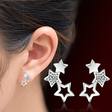 Mulheres Estrela Cristal Cristal Brincos Curtos - Adorável Prata Estrela Brincos Para Presentes de Natal Casamento Festa Ocasião Especial