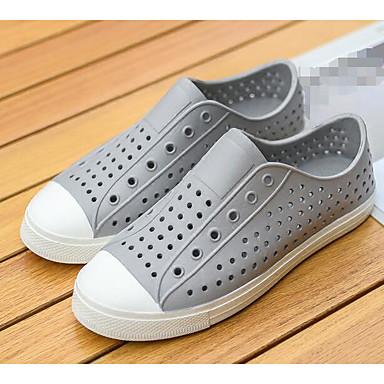 Herren Schuhe Gummi Frühling Komfort Loch Schuhe paar Schuhe Loafers & Slip-Ons Für Normal Weiß Schwarz Grau