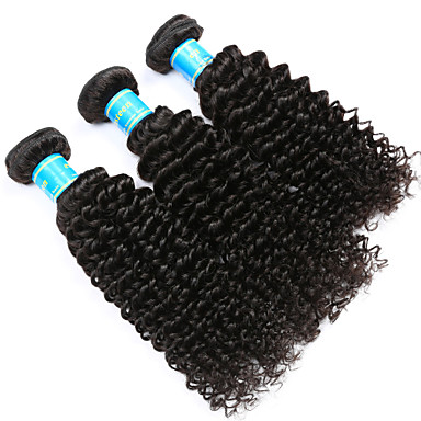 Maláj haj Kinky Curly Emberi haj sző 3 darab Az emberi haj sző