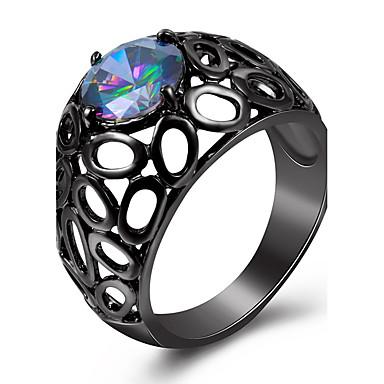 Mulheres Anel Anel de declaração Diamante sintético Cores Sortidas Cobre Chapeado Dourado Vidro Forma Geométrica Personalizada Luxo