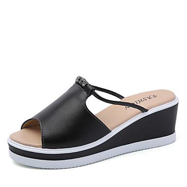 Damen Sandalen Walking Komfort Leuchtende Sohlen Leder Frühling Sommer Herbst Normal Perlenstickerei Keilabsatz Weiß Schwarz 5 - 7 cm