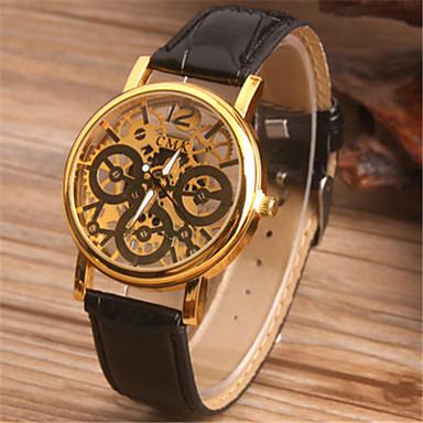 baratos Relógios Homem-Homens Relógio Esqueleto Relógio de Moda Quartzo Couro Banda Preta Marrom