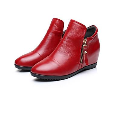 Damen Schuhe Nappaleder Leder Frühling Komfort Stiefel Für Normal Weiß Orange Rot