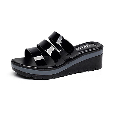 Mulheres Sapatos Sintético Verão Conforto Sandálias Salto Robusto Peep Toe para Casual Preto Vermelho Azul
