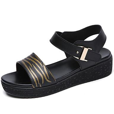 Damen Sandalen Walking Komfort Leuchtende Sohlen Leder Frühling Sommer Herbst Sportlich Normal Schnalle KeilabsatzSchwarz Schwarz und
