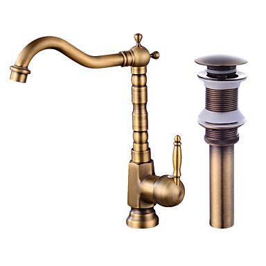 Moderní Tall / High Arc Keramický ventil Starožitná měď, Kuchyňská vodovodní baterie