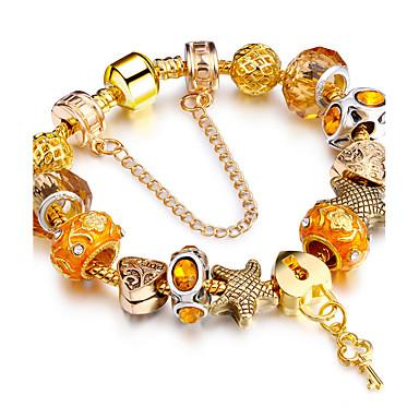 Mulheres Pulseiras Strand - Chapeado Dourado Amigos Luxo, Com Elasticidade, Fashion Pulseiras Dourado Para Natal Presentes de Natal Casamento