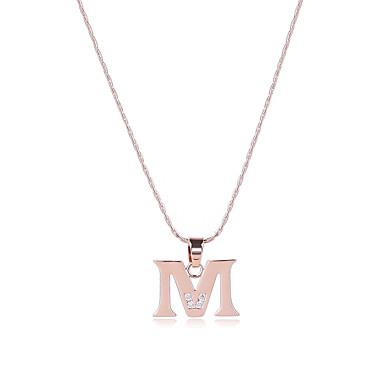 Herrn / Damen Alphabet Form Kubikzirkonia Roségold / Zirkon Anhängerketten - Sexy / Britisch / Multi-Wege Wear Gold Modische Halsketten