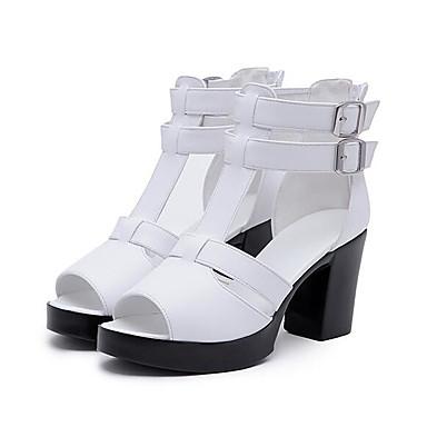 Naiset Sandaalit Nappanahka Nahka Kevät Valkoinen Musta Tasapohja