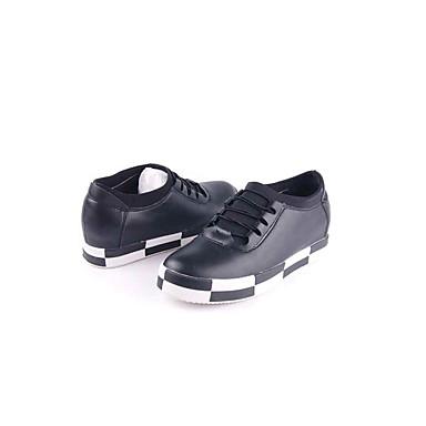 Damen Schuhe Stoff Frühling Herbst Komfort Loafers & Slip-Ons Walking Plattform Creepers Runde Zehe Schnürsenkel für Normal Schwarz