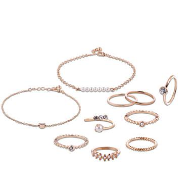 Dámské Sady šperků Napodobenina perel Štras Postříbřené Chrome Růže pozlacená Kulatý Jedinečný design Párty Narozeniny Obchod Dar Denní
