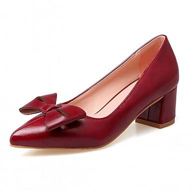 Mulheres Sapatos Couro Ecológico Primavera Outono Conforto Inovador Saltos Caminhada Salto Robusto Dedo Apontado Laço para Social Preto