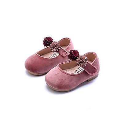 Mädchen Schuhe Vlies PU Frühling Herbst Lauflern Flache Schuhe Walking Niedriger Absatz Runde Zehe Klettverschluss Für Normal Grau Rosa