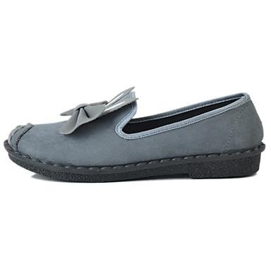 Mulheres Sapatos Tecido Primavera / Outono Conforto Rasos Sem Salto Ponta Redonda Laço para Casual Preto Cinzento