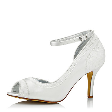 Mulheres Sapatos Tule Seda Primavera Outono Conforto Sapatos De Casamento Salto Agulha Dedo Aberto Peep Toe Ponta Redonda para Casamento