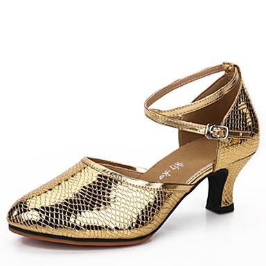 Dámské Latina Koženka Sandály Venkovní Přezky Kačenka Zlatá Stříbrná Zelená Modrá Růžová 1