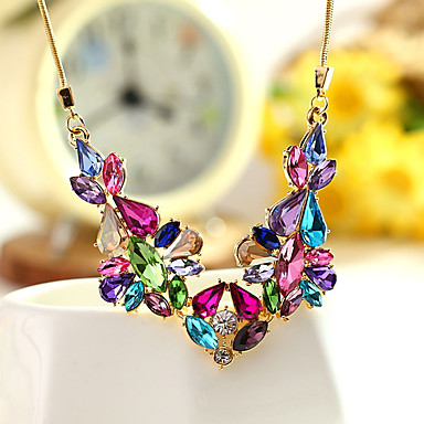 Women's Statement Necklace - Crystal Unique Design, Fashion, Euramerican Rainbow, Pink, Light Blue Necklace For Party, Evening Party