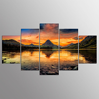 Stretched Canvas Print Five Panels Horizontal Print Wall Decor Home Decoration