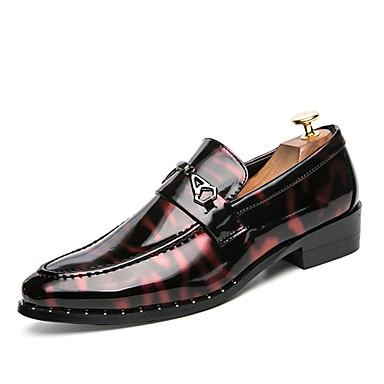 Homens sapatos Couro Envernizado Primavera Verão Conforto Oxfords Caminhada para Casamento Escritório e Carreira Festas & Noite Prata /