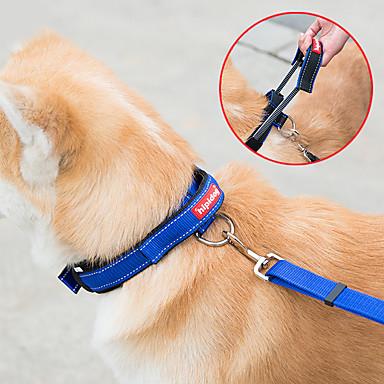 Cachorro Arreios Trelas Ajustável Sólido Náilon Preto Azul