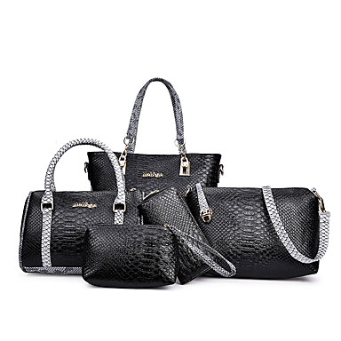 Damen Taschen PU Bag Set 5 Stück Geldbörse Set für Geburtstag Arbeit Verabredung Ganzjährig Blau Weiß Schwarz Grau Purpur