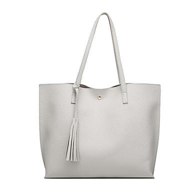 cheap Top Handles & Tote Bags-Women's Bags PU(Polyurethane) Tote Tassel Pink / Gray / Silver