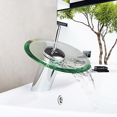 Çağdaş Modern Tek Gövdeli Şelale Seramik Vana Tek Delik Tek Kolu Bir Delik Krom, Banyo Lavabo Bataryası