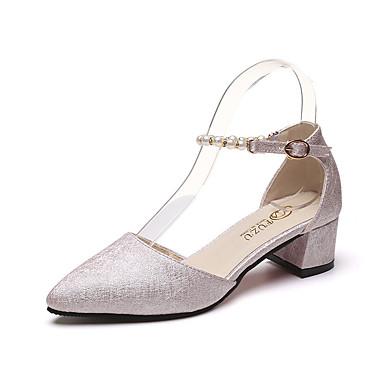 Damen Schuhe PU Kunstleder Sommer Sandalen Blockabsatz Offene Spitze Für Kleid Gold Weiß